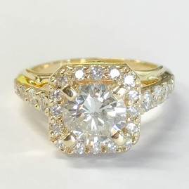 Yellow Gold Square Halo Ring Cut Corners (1 of 1)